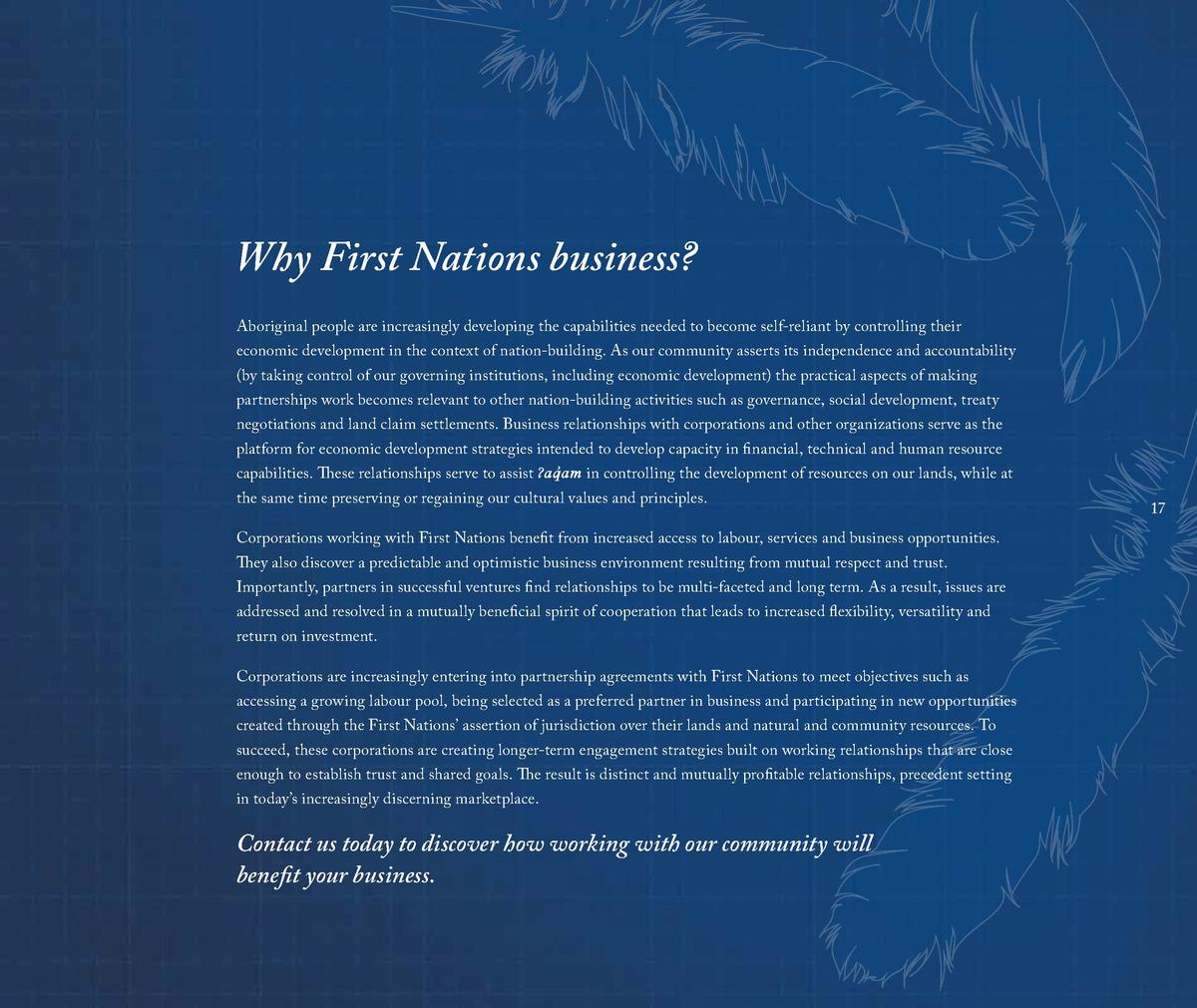 Why First Nations business  Aboriginal people are increasingly developing the capabilities needed to become self-reliant b...